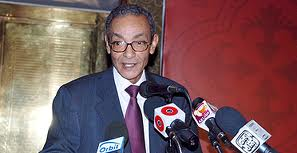 Bahaa Taher at a press conference.