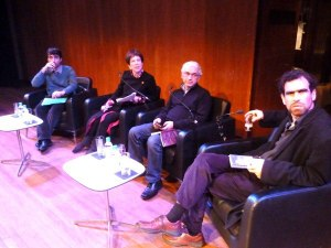 Golan Haji, Lyse Doucet, Nihad Sirees, and Robin Yassin-Kassab at the Southbank Centre. Photo credit: English PEN.