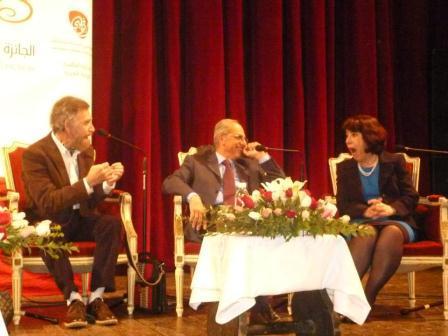 Judges Ali Ferzat, Sobhi Boustani, and Zahia Smail Salhi sharing a joke. Credit Kaouther Jelassi