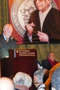 Speaking at the Naguib Mahfouz Award ceremony in 2010.