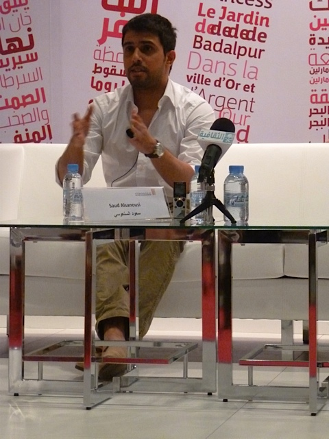 International Prize for Arabic Fiction-winner Saud al-Sanoussi charms the small crowd.