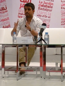 Al-Sanousi at a talk at the Abu Dhabi International Book Fair. Photo credit: Kathryn Kasimor.