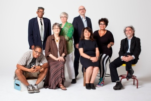 "With other literary arts fellows. Front row: Chace ""Mic Write"" Morris, Terry Blackhawk, Dunya Mikhail, adrienne maree, Cary Loren. Back: Second Row: Arthur R. LaBrew, Carolyn Walker, Michael Zadoorian. Photo credit: Marvin Shaouni."