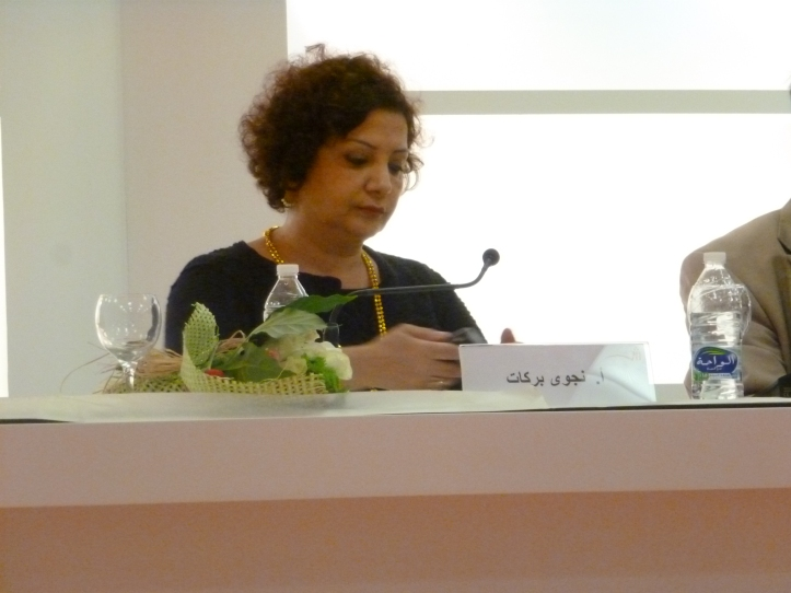 Lebanese novelist Najwa Barakat speaking at the Sharjah International Book Fair.