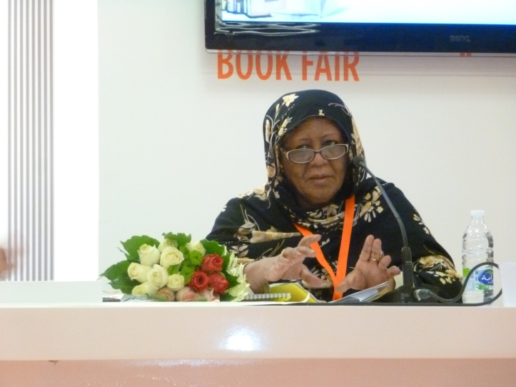 Sudanese novelist Buthaina Khadr Mekki speaking at the Sharjah International Book Fair. Photo credit: Kate Kasimor.