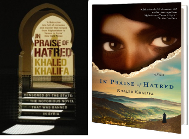 "UK and US editions of Khaled Khalifa's ""In Praise of Hatred."""