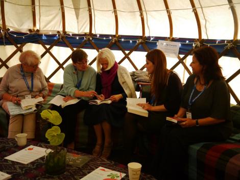 From the ABINAS website: Liz Lochhead, Robyn Marsack, Christine de Luca, Maya Abu al-Hayyat and Abla Oudeh in the authors' tent at Edinburgh International Book Festival, preparing for their readings.