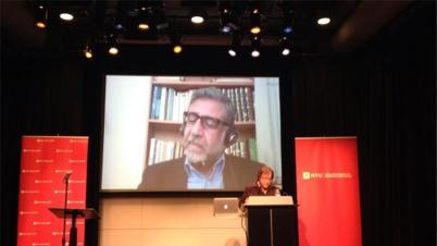 When he was denied entry to the US, Jordanian poet and novelist Amjad Nasser also presented via Skype.