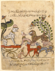 Figure: Kalila wa-Dimna. Syrian manuscript. Bibliothèque nationale de France in Paris, MS arabe 3465, folio 57.