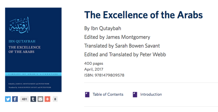 Excellence of the Arabs': Ibn Qutaybah and the Cultural